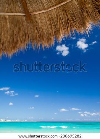 Cancun beach on sunny day - stock photo