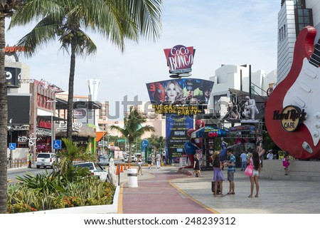 CANCUN - JANUARY 22: View of the Coco Bongo club on Main Street on 22 January 2015 in Cancun, Mexico. In this street is a lot of clubs and restaurants for tourists from all over the world.. - stock photo
