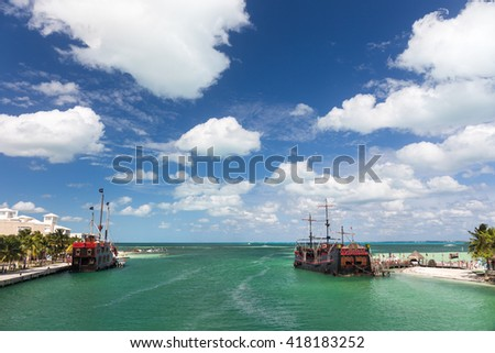 Cancun, Mexico - 12 February 2016: Captain Hook Pirate ship anchored at dock. Famous restaurant and show at Cancun - stock photo