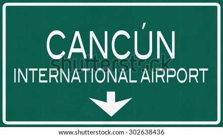 Cancun Mexico International Airport Highway Sign 2D Illustration - stock photo