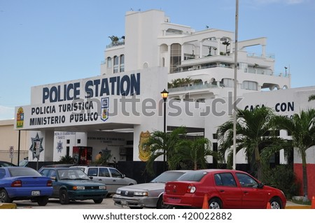 CANCUN, MEXICO - OCT 6: Police Station in Cancun, Mexico, as seen on Oct 6, 2011. Cancun is located on the northeast coast of the Yucatán Peninsula in the Mexican state of Quintana Roo. - stock photo