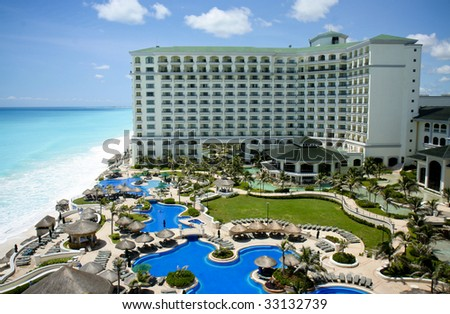 Cancun resort aerial view - stock photo