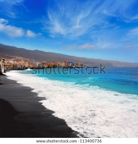 Candelaria black sand beach in Tenerife at Canary Islands - stock photo