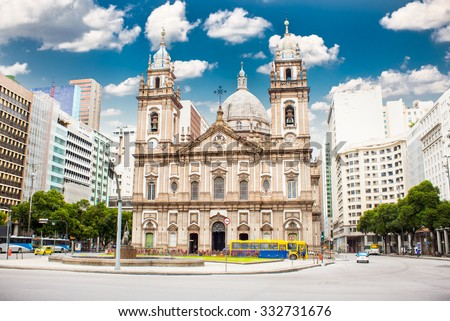 Candelaria Church in downtown in Rio de Janeiro, Brazil. - stock photo