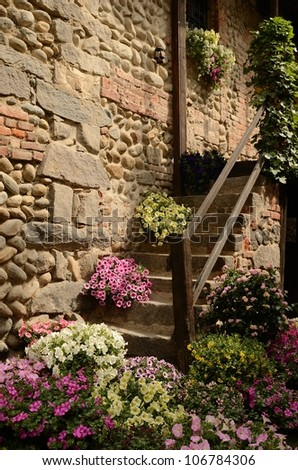 Candelo in flowers, Biella - Italy - stock photo