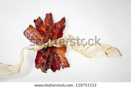 Candied Bacon Wrapped with a Ribbon - stock photo