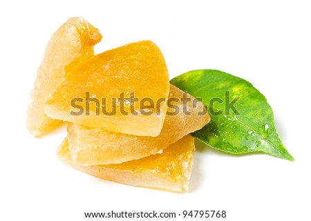 Candied lemon with leaf - stock photo