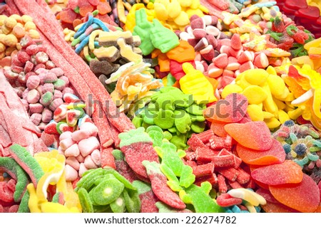 candies in different flavors and colors - stock photo
