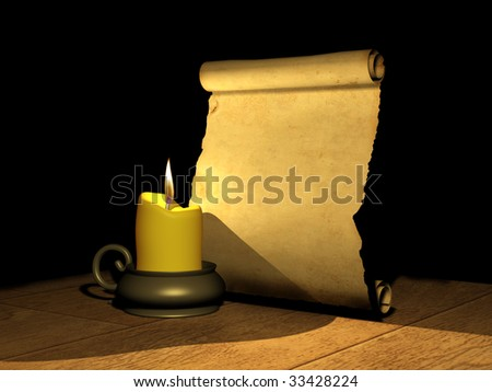 Candle and the ancient manuscript - stock photo