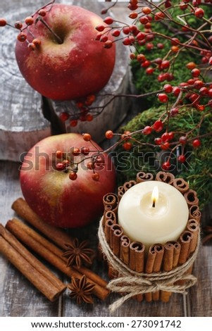 Candle decorated with cinnamon sticks and red apples - stock photo