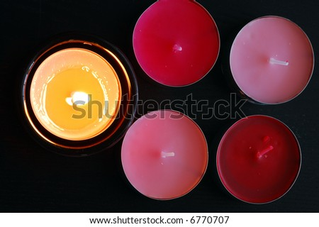 Candle from top view - stock photo