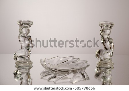 Candle holders and saucer