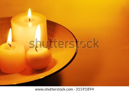 Candle light with copy space - stock photo