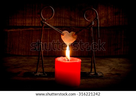 Candle light with love,  Valentine's Day - stock photo