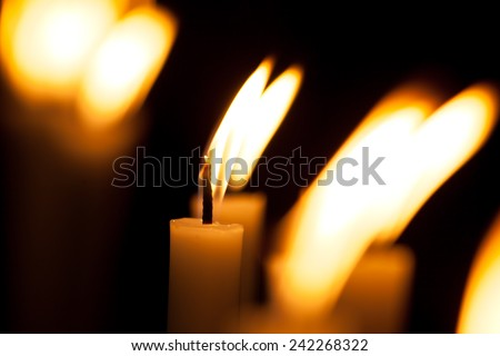 Candle Lights Bokeh Background, Candlelight Service - stock photo