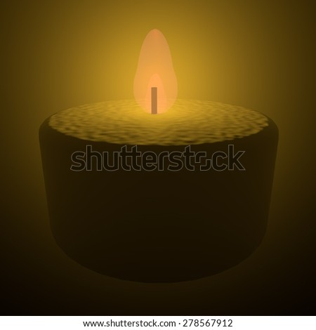 Candle lit in darkness, 3d render, square image - stock photo
