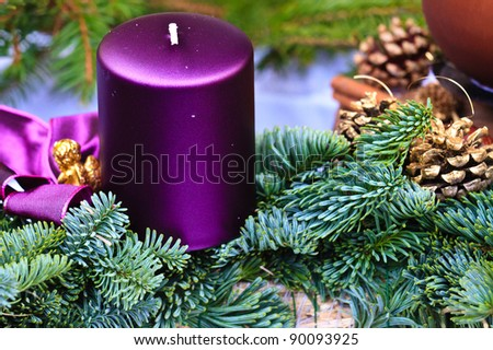 Candle of Christmas Advent Wreath (detail view) - stock photo