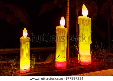 Candle shaped lighting art pieces on Boardwalk, in Purerto Vallarta, Mexico - stock photo