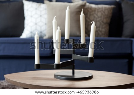 candle stand in living room