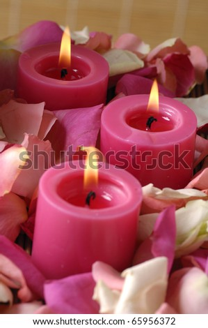 Candle surrounded with colorful rose petals