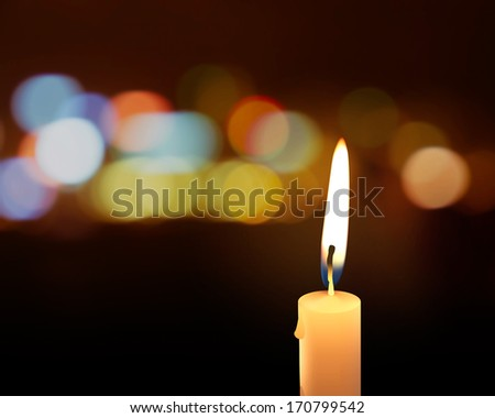 candlelight with background bokeh - stock photo