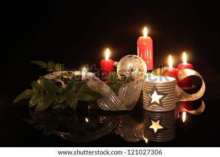 Candles and Christmas decoration - stock photo