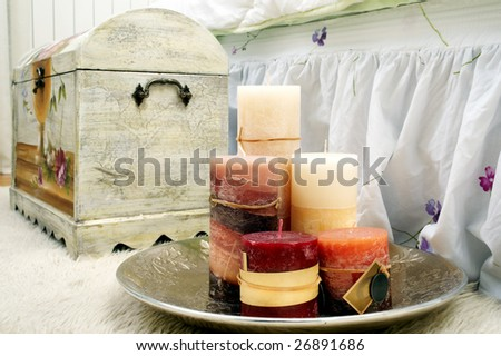 Candles and old fashioned box - stock photo