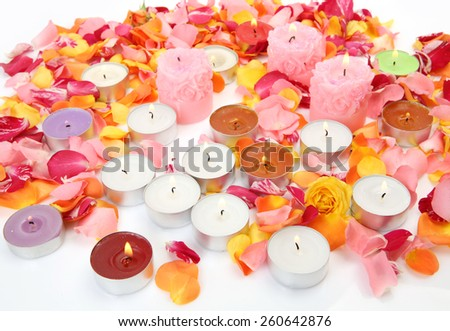 candles and rose petals - stock photo