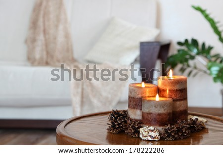 candles and sofa - stock photo