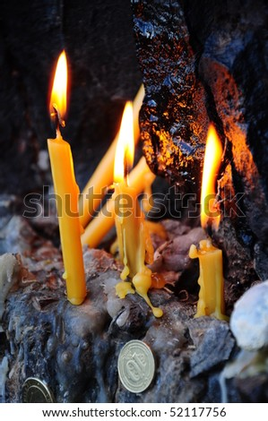 candles and wishes - stock photo