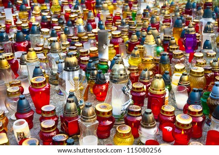 Candles background on the All Saints Day - stock photo