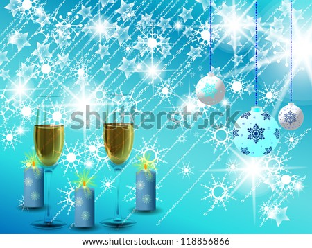 Candles, glasses full of champagne and decorative peel, New Year holidays are here./Christmas background - stock photo