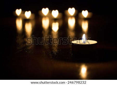 Candles heart - stock photo