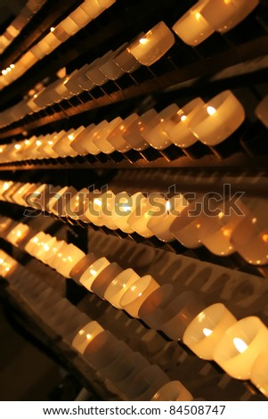 Candles in church - time for the pray - stock photo