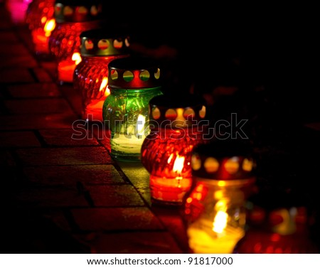 candles in memory of deceased - stock photo