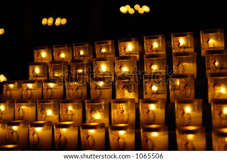 candles in Notre-Dame of Paris, France