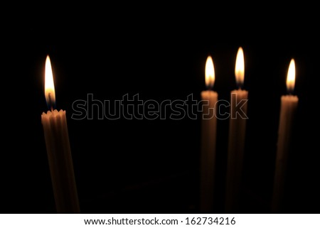 Candles in the dark - stock photo