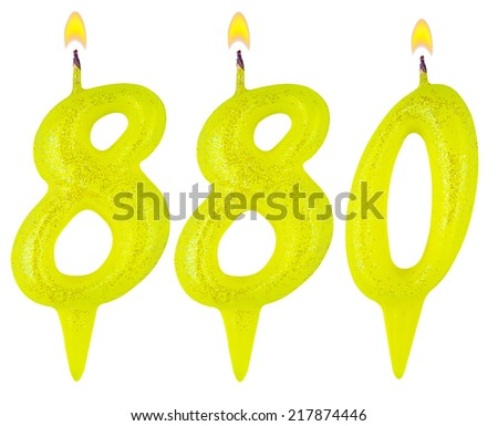 candles number eight hundred eighty isolated on white background - stock photo