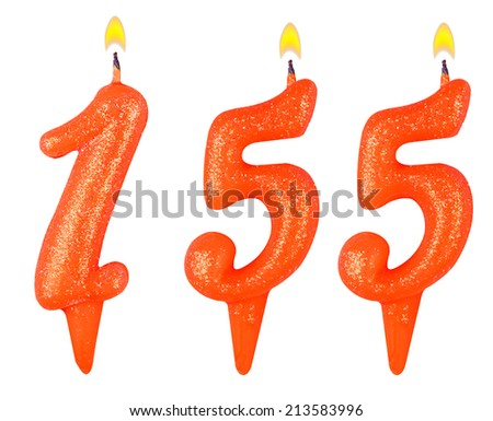 candles number one hundred fifty five isolated on white background - stock photo