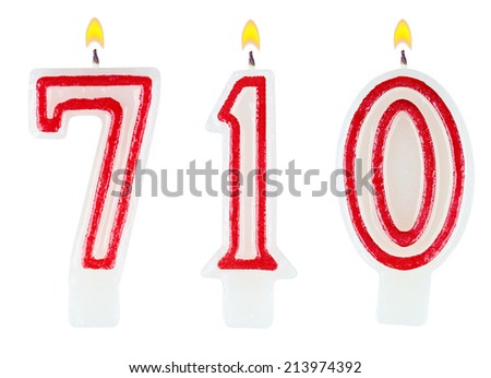 candles number seven hundred ten isolated on white background - stock photo