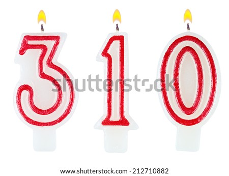 candles number three hundred ten isolated on white background - stock photo