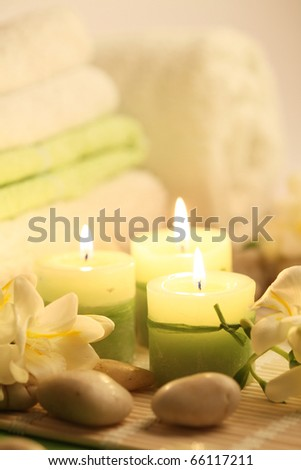candles towels and stones - stock photo