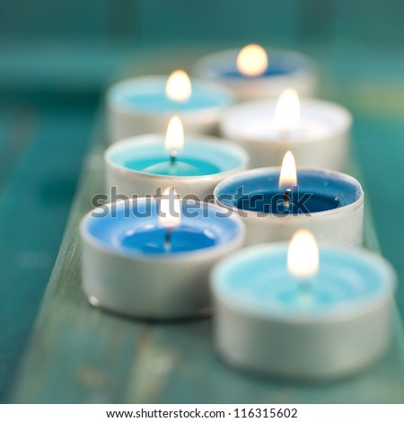 Candles, wellness symbols - stock photo