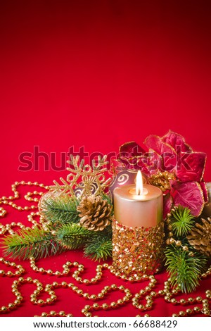 Candles with Christmas decorations - stock photo