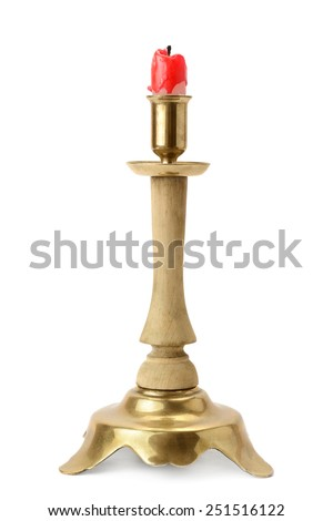 candlestick and candle isolated on a white background - stock photo