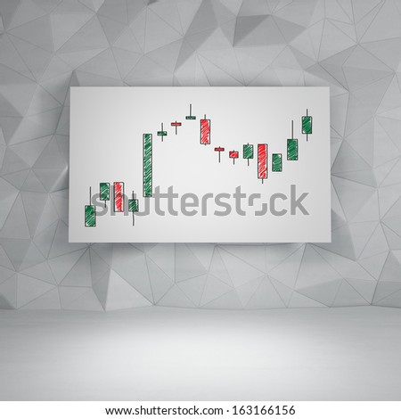 Candlestick graph on whiteboard. - stock photo