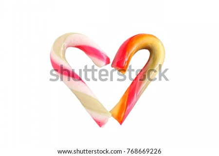 Candy Cane For Festive Season on White Background