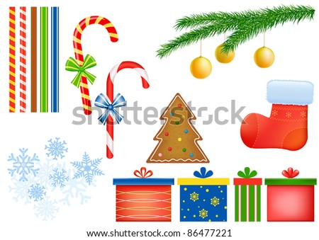 Candy cane, gift box, pine tree, gingerbread cake, ribbons, stocking, snow flakes