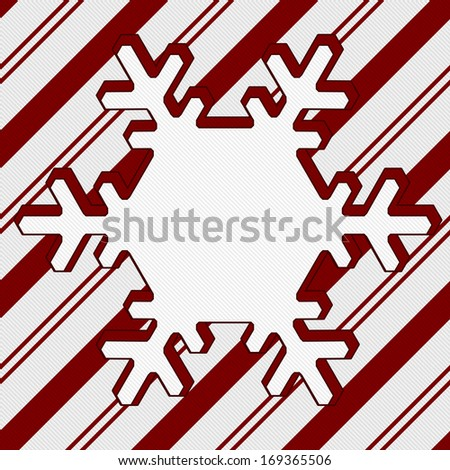 Candy Cane Striped Christmas Background with center snowflake copy-space, Christmas Time Background - stock photo