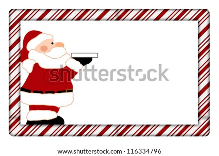 Candy Cane with Santa Frame for your message or invitation with copy-space in the middle - stock photo